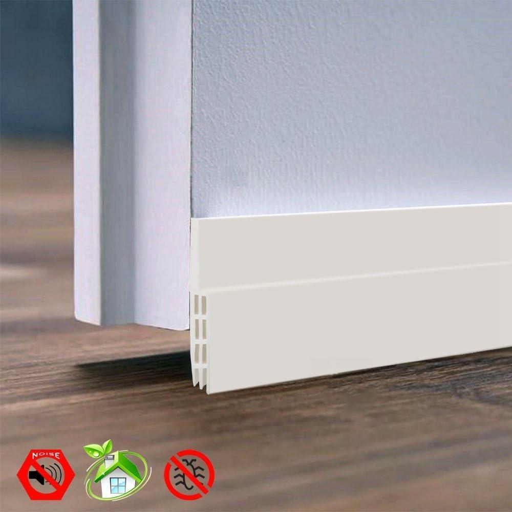 blanc Adh/ésif sous la porte par balayage m/ét/éo de d/écapage insonorisant Porte Fen/être Bande d/étanch/éit/é Blanc 5,1/cm de large x 99,1/cm de long
