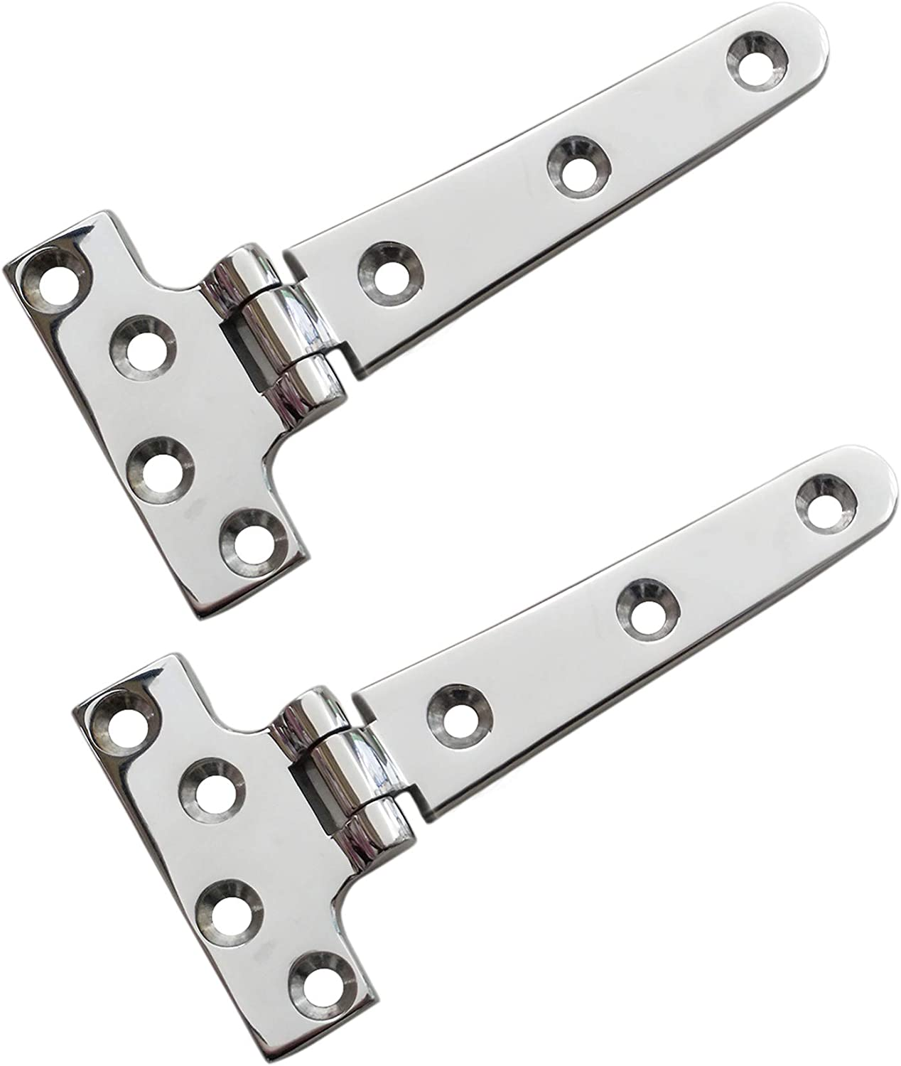 """keehui 2 Pieces of 316 SS Marine Grade Heavy Duty T Hinge 4'' x 2"""" Casting Hinge for Boat& AUTO"""