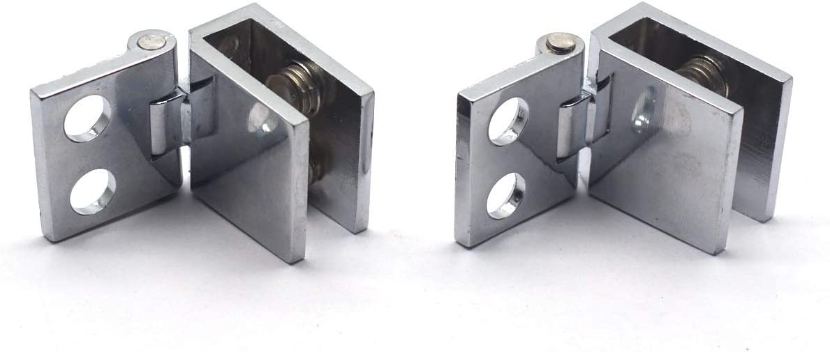 MTMTOOL Zinc Alloy Single Side Glass Doors Hinge 0 Degree Cupboard Showcase Cabinet Door Hinge Glass Clamp Pack of 2