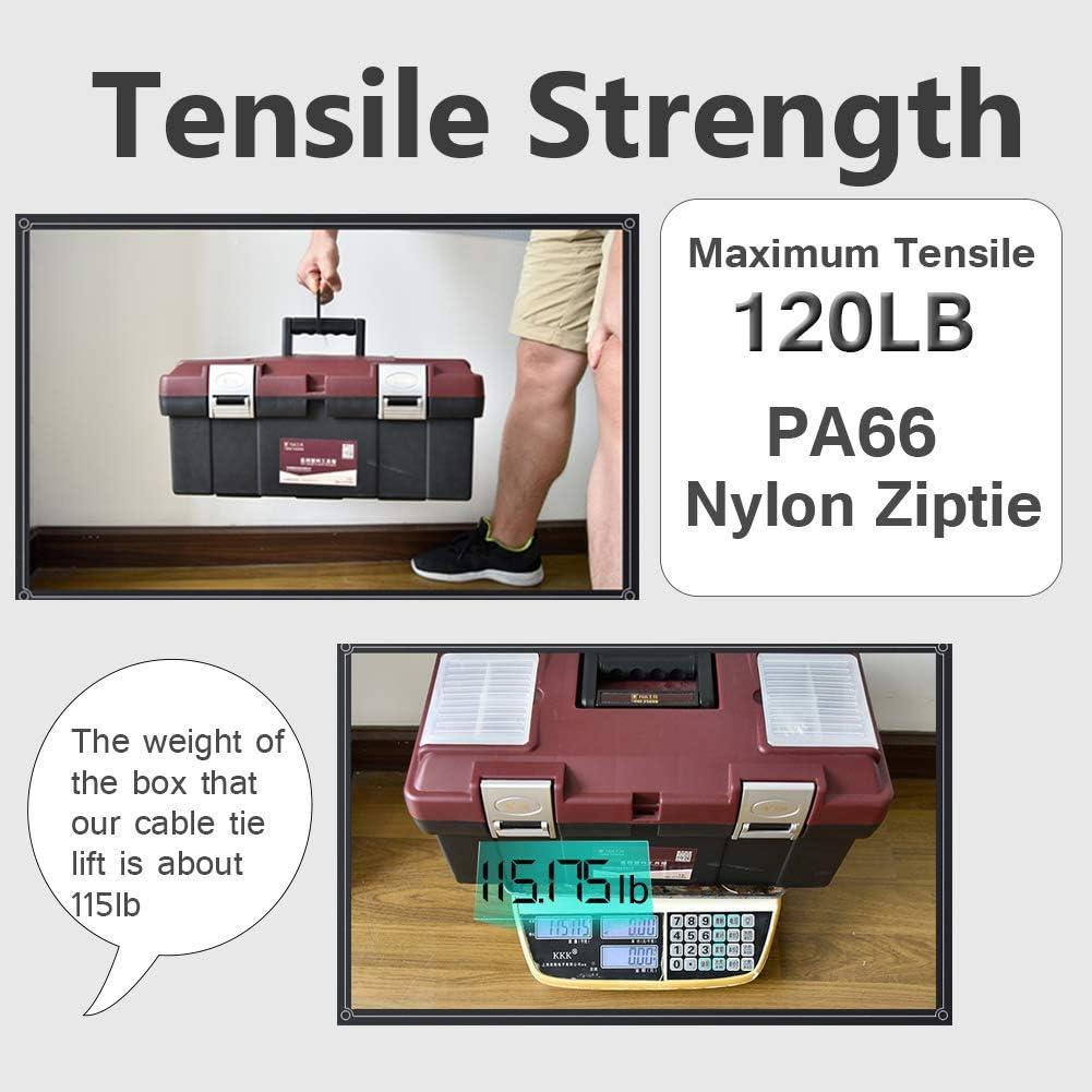 12 Inch Heavy Duty Black Wide Large 120LBS Tensile Strength Zip Ties