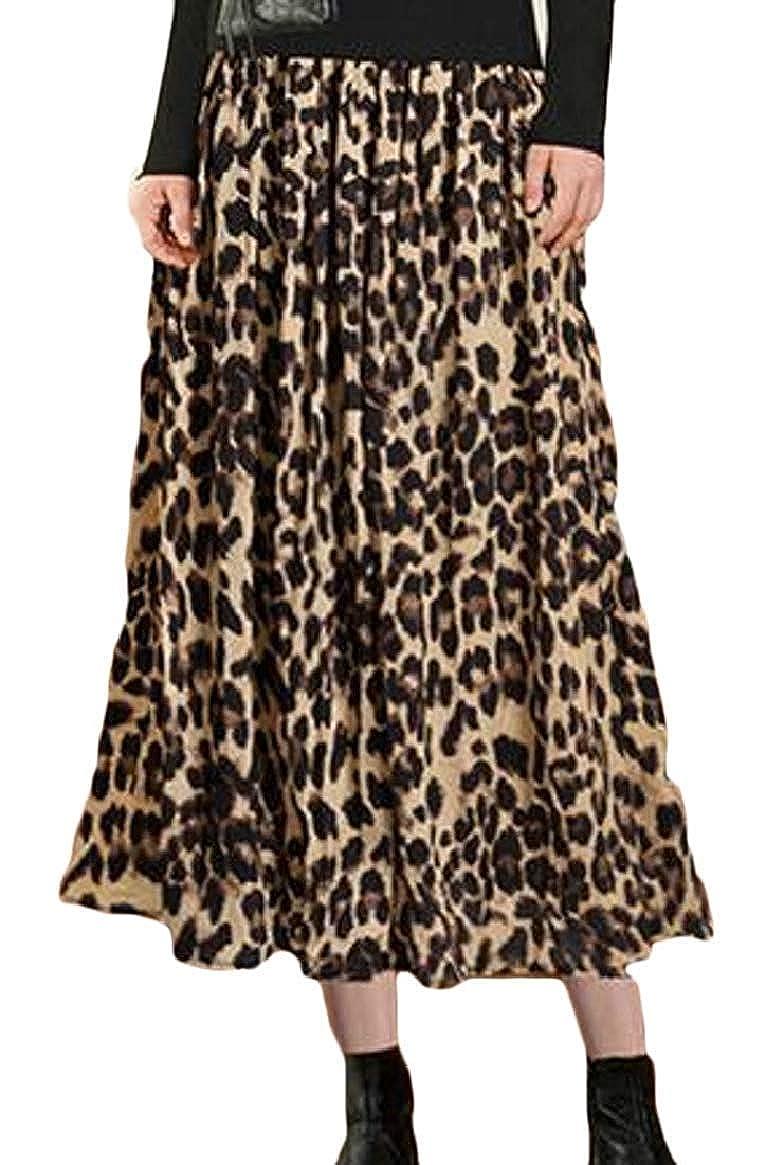 dahuo Falda de Mujer con Estampado de Leopardo, Cintura elástica ...