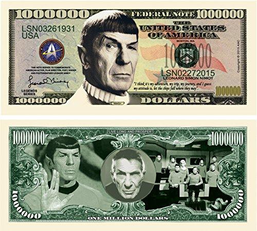 Limited Edition Spock Leonard Nimoy Star Trek Collectible Million Dollar Bill in Currency Holder (Million Dollars Money Frame)