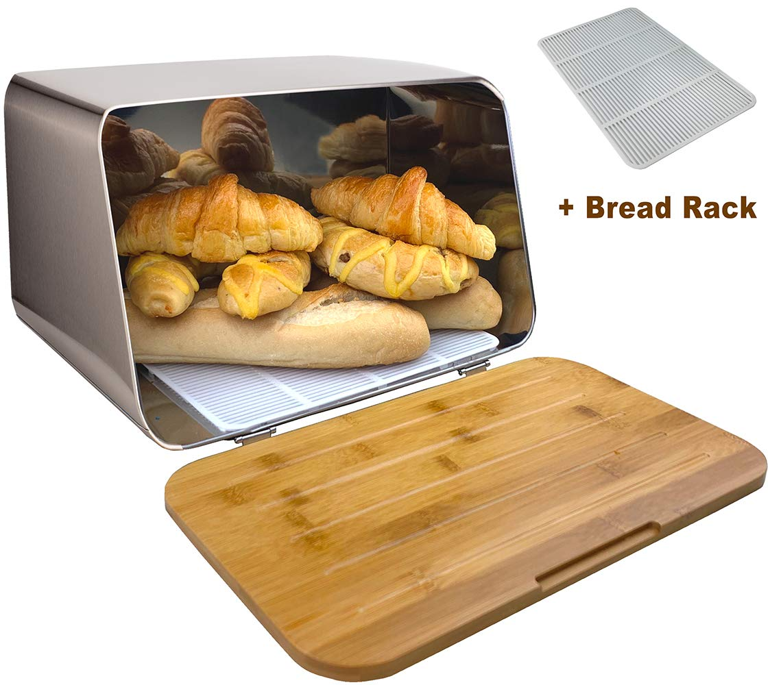 ALhom Bread Box with Bamboo Cutting Board Lid & Bread Rack, Stainless Steel, 14.5x9x9 inches