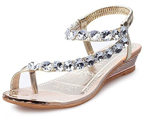 Amazon maybest women strappy string rhinestones gladiator maybest women strappy string rhinestones gladiator sandals beach wedding shoes gold 4 b m junglespirit Image collections
