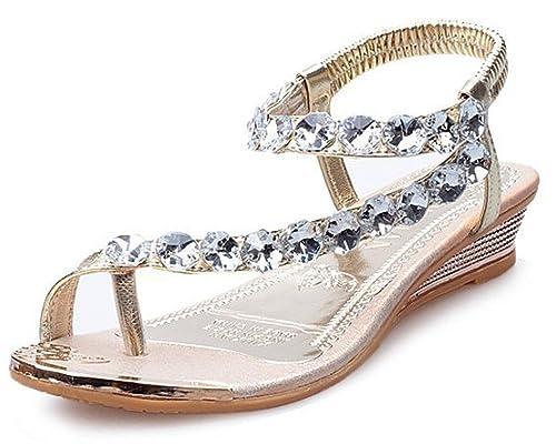 Amazon maybest women strappy string rhinestones gladiator maybest women strappy string rhinestones gladiator sandals beach wedding shoes gold 4 b m junglespirit Gallery