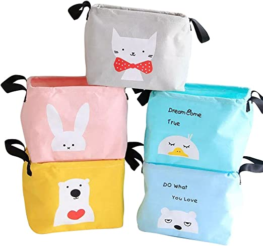 Zigzag Park Canvas Storage Bin Basket Box Organizer with Handles Collapsible for Nursery Baby Toys Makeup Jewelry Socks Office Animal 5 Pack 1 Bunny + 1 cat + 1 Chicken + 1 Polar Bear + 1 Bear