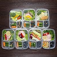 حافظات الطعام من 3 مساحات تخزين الطعام 7 عبوات مع اغطية صناديق