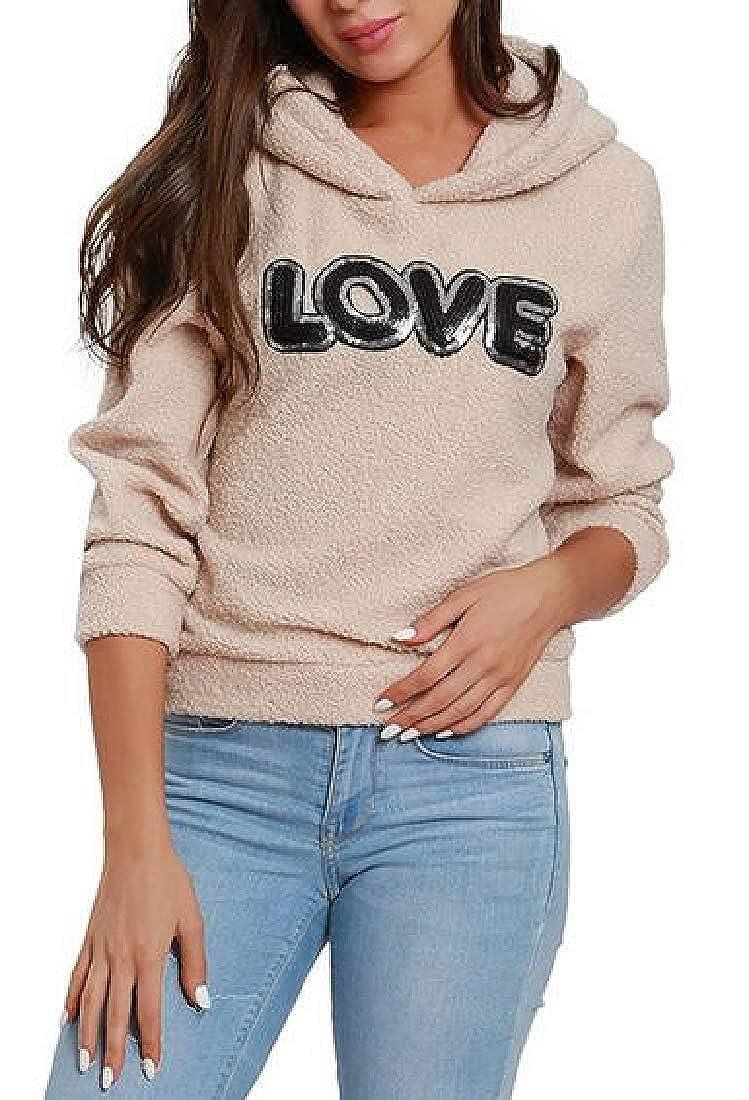 BU2H Women Warm Love Pattern Fleece Winter Pullover Hooded Sweatshirts