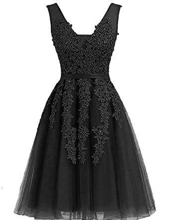 6598706a95e Tulle Short Homecoming Dresses 2018 V Neck Prom Gowns Lace Applique Size 2  Black