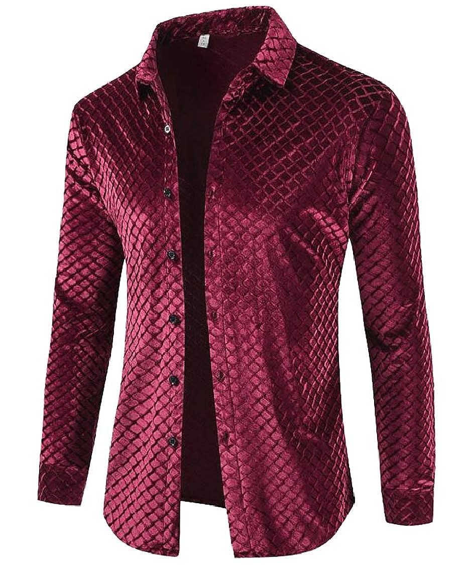 SELX Men Lapel All Long Sleeve Checkered Velvet Button Down Shirt Top