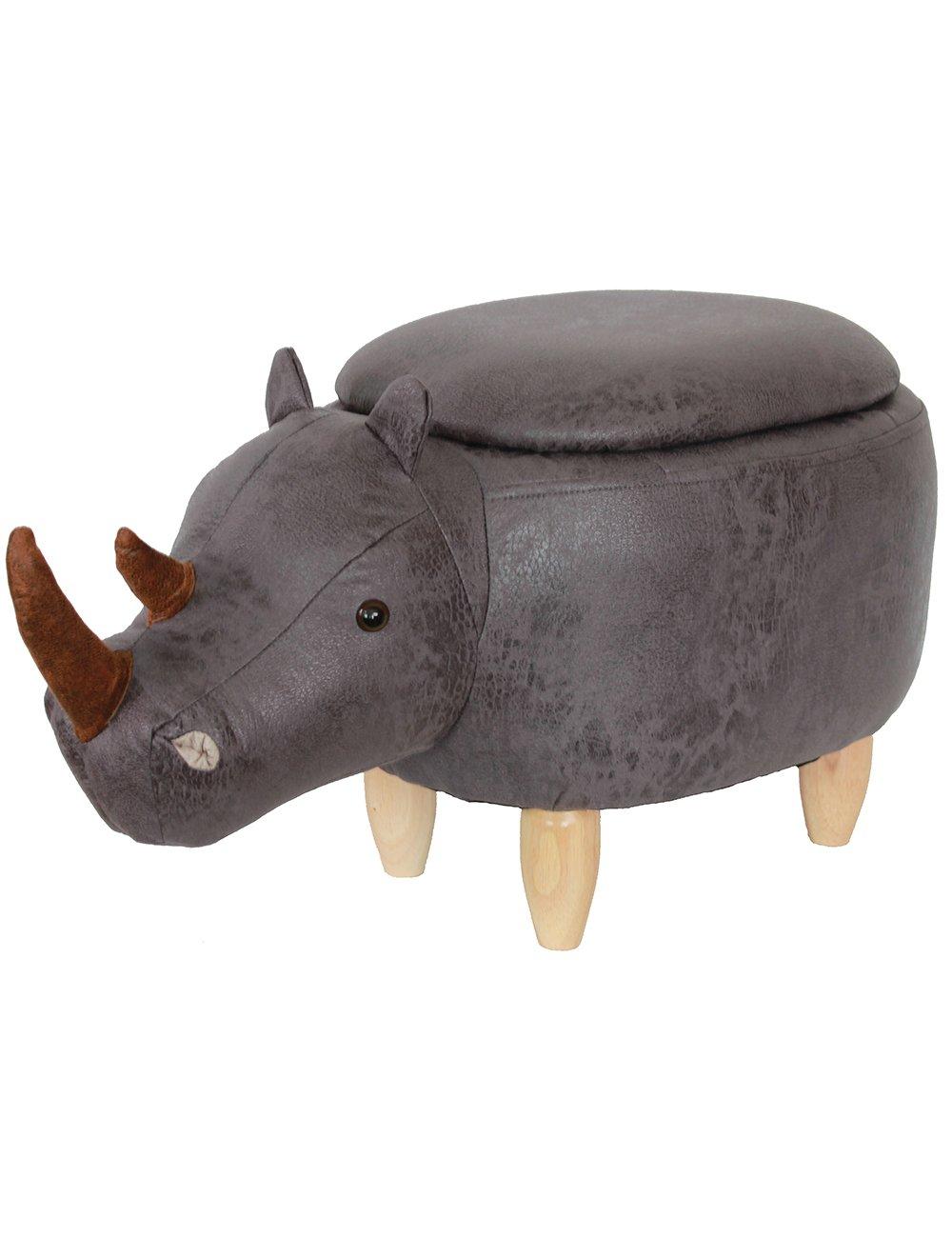HAOSOON Animal ottoman Series Storage Ottoman Footrest Stool with Vivid Adorable Animal-Like Features(Rhinoceros) (grey)