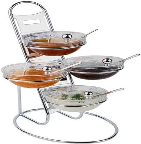 Amazon Com Aps Paderno World Cuisine Chromed Three Tier Buffet Ladder Medium Bowl Set Completer Serveware Sets Serving Bowls