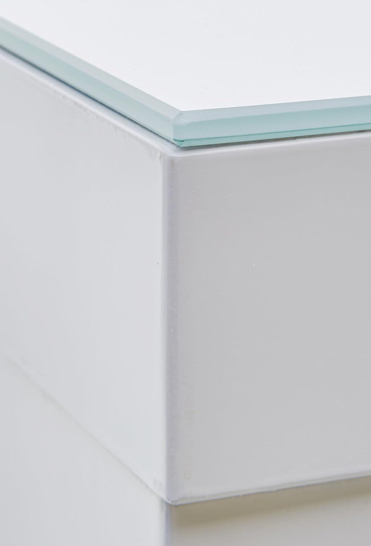Jam JAM08HWW 80 x 108 x 80 cm Bartisch Tisch Hochglanz//Glas//wei/ß Robas Lund