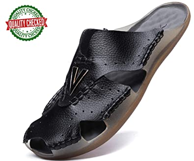 49d57a977bc1 Aliwendy Mens Leather Sandals Casual Slippers Non-Slip Outdoor Slides  Fashion Summer Beach Closed Toe