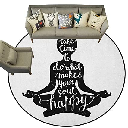 Amazon.com: Yoga,Bedroom Rugs Black Silhouette with Quote ...