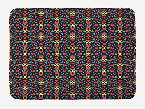 Weeosazg Geometric Bath Mat, Vivid Color Scheme Symbols from Aztec Culture Sun Concept Ethnic Inspirations, Plush Bathroom Decor Mat with Non Slip Backing, 23.6 W X 15.7 W Inches, Multicolor]()