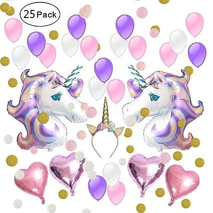 IAMIGO Globos de fiesta unicornio decoración, suministros de ...