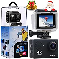 Action Camera, Wewdigi 2.0 LCD Screen 4K WiFi Ultra HD Waterproof Sport Camera with 170 Wide-Angle Lens, Including Full Accessories Kits and Waterproof Case