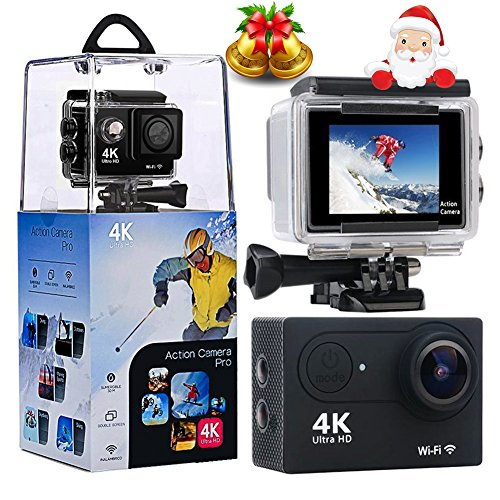 Action Camera, Wewdigi Ultra HD Waterproof Sport Camera with 170 Wide-Angle Lens, Full Accessories Kits and Waterproof Case (Black).