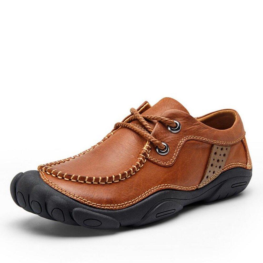 GAOLIXIA Herrenschuhe Vintage Leder Frühling Herbst Licht Sohlen Peas Schuhe Faule Schuhe Comfort Turnschuhe Wanderschuhe für Casual Outdoor braun Khaki