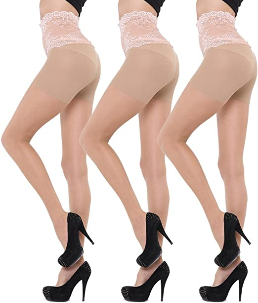 Small Ivory Sheer Control Top American Pantyhose Tights by Fashion Designer