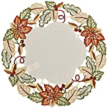 Linens, Art and Things Embroidered Fall Leaf Doily Place Mat 15 Inches Round
