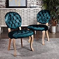 Bushwood Tufted Teal Velvet Dining Chairs (Set of 2)