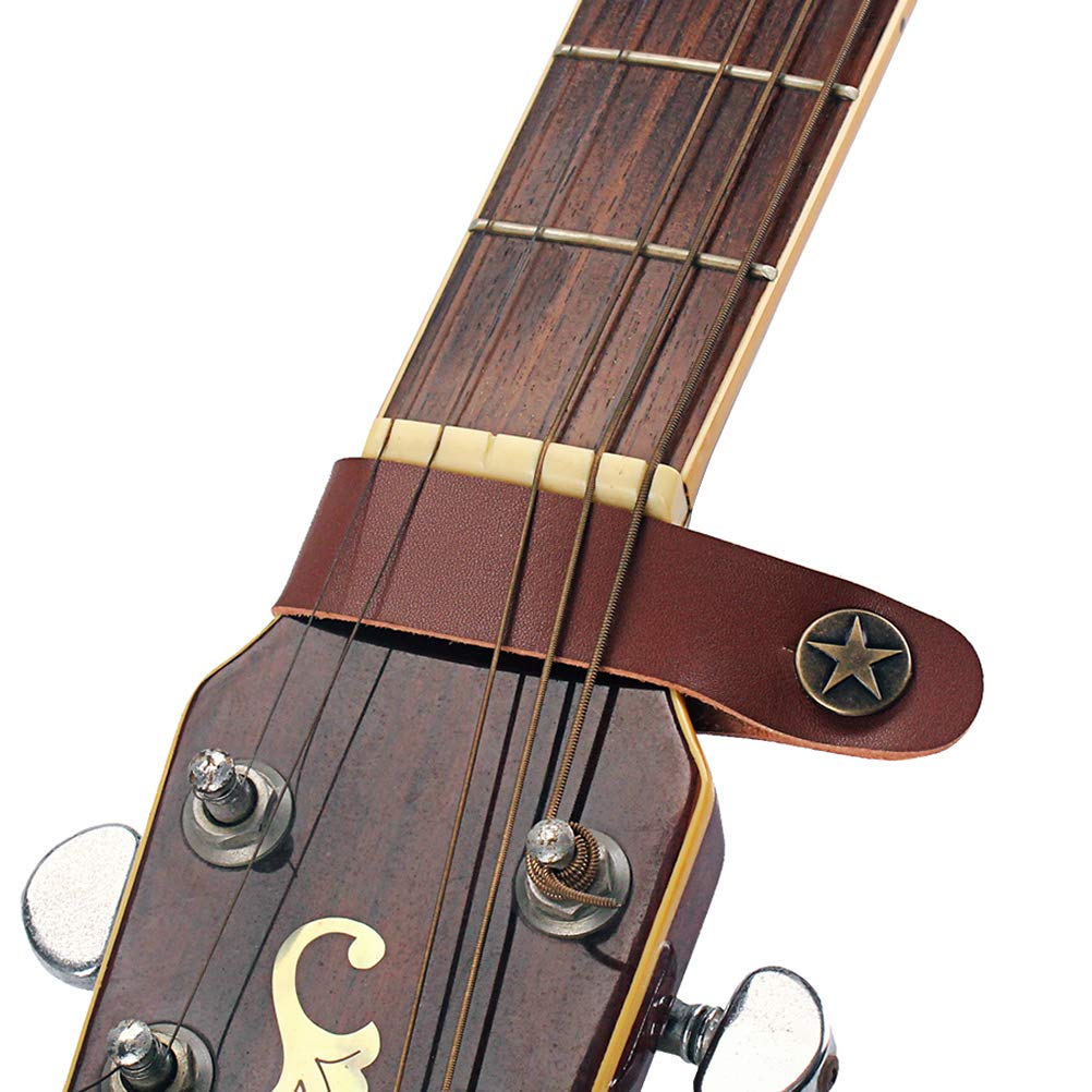 Artibetter Leather guitar neck strap button star guitar headstock strap for guitar ukulele electric acoustic guitar bass brown