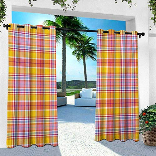 Madras Pink Panel - Abstract, Outdoor Curtain Waterproof, Madras Style Tartan Motif with Vivid Tone Bands Celtic Old Design, Outdoor Curtain panels for Patio Waterproof W72 x L108 Inch Marigold Pink Earth Yellow