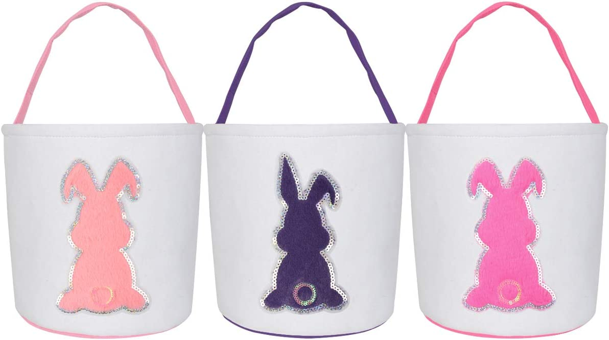 3 Pack Large Easter Bunny Baskets, Canvas Cotton Easter Bags Rabbit Handbag Bucket Tote for Kids Eggs Hunting, Candy and Gifts Carry Bucket at Easter Party