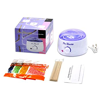 dimoxii Wax, cera depilatoria haat Distancia Set Cera dispositivo calentador de cera con 4 x 100 g bolsas Cera perlas 10 espátulas de madera en casa Fácil ...