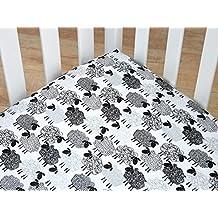 NoJo Good Night Sheep Fitted Standard Size Crib Sheet, Black & White