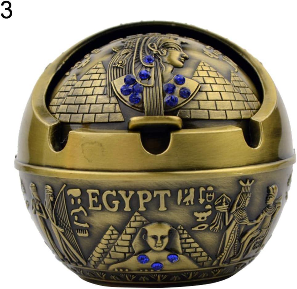 LbojailiAiCenicero de Metal Hombre Semicerrado Egipcio Faraón pirámide de Diamantes de imitación - 3#