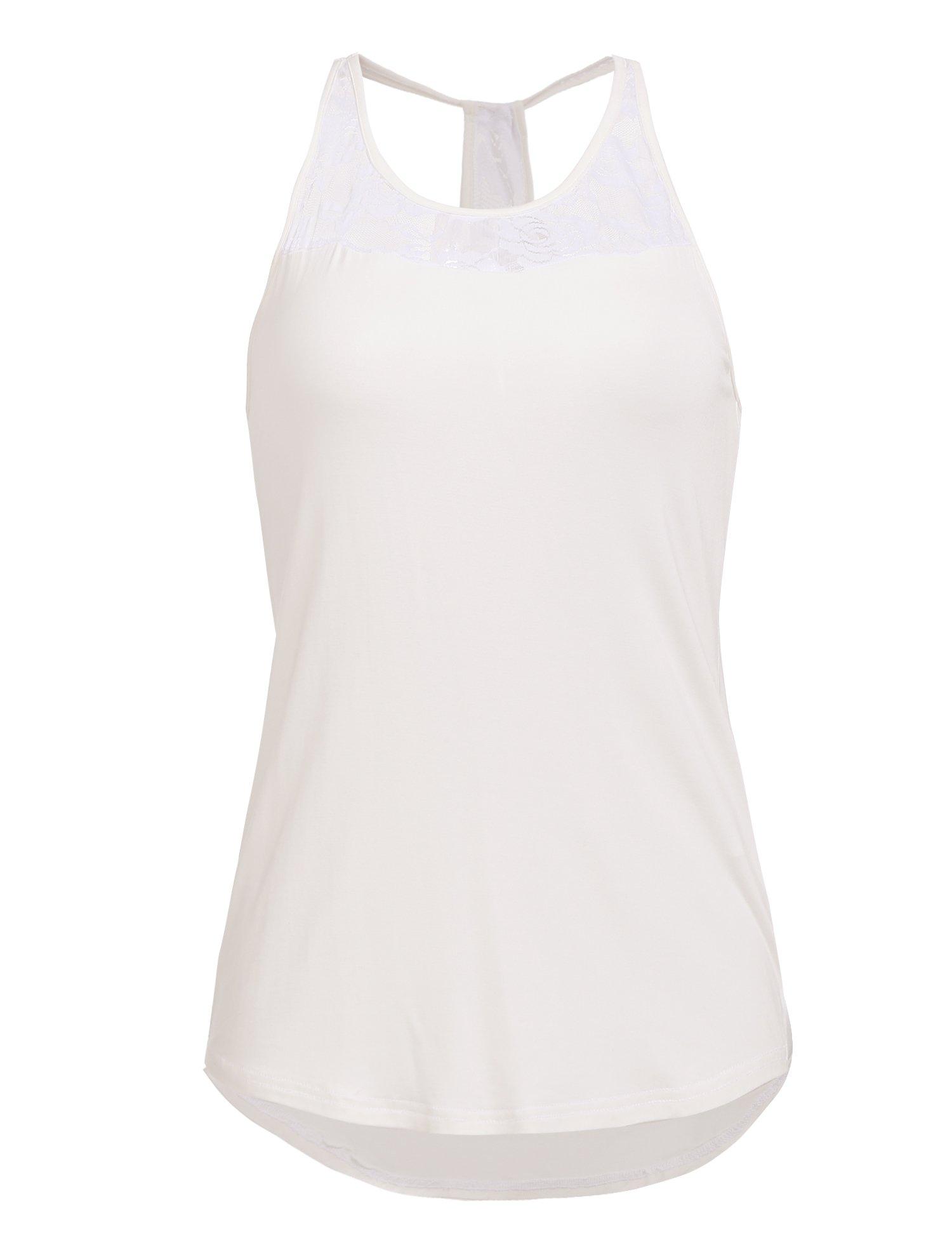 Mofavor Women's Sleeveless Crochet Lace Camisole Vest Halter Racerback Tank Top,White,Large by Mofavor (Image #2)