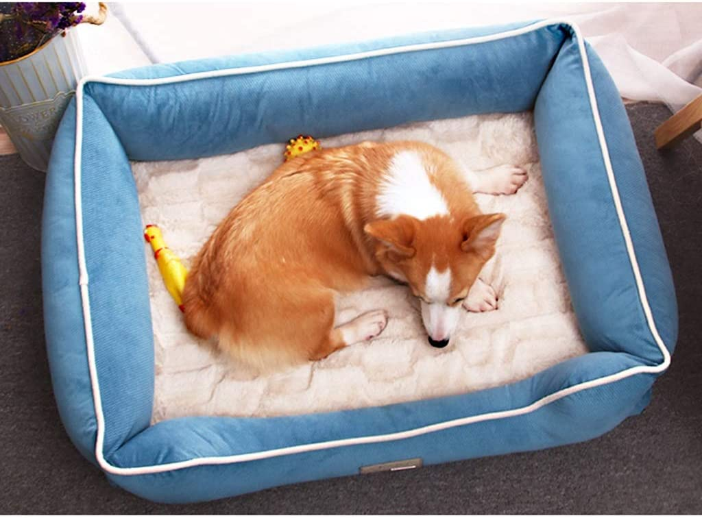 DESTRB Pet Deluxe Orthopedic Dog Bed with Padded Rim Cushion and Nonslip Bottom, Grooved Orthopedic Foam Pet Bed with Extra Comfy Cotton - Blue Pet Bed