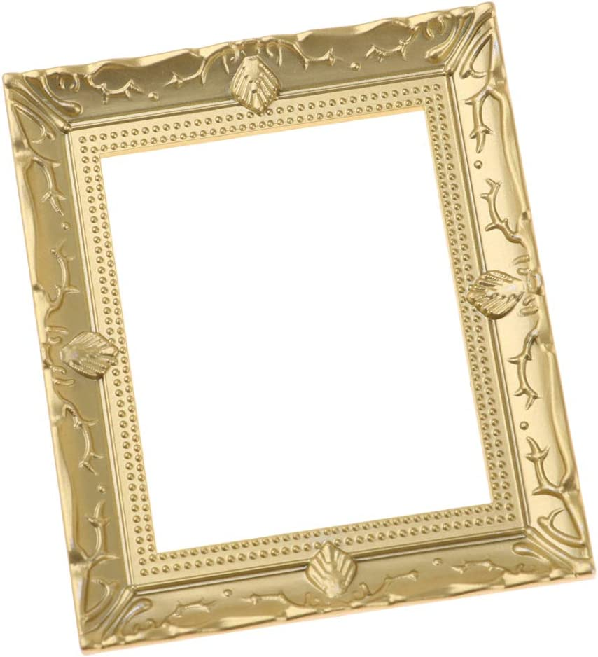 Golden Dolls House Life Scene Ornament Wall Decor DIY CUTICATE 1:12 Scale Golden Photo Frame Painting Frames