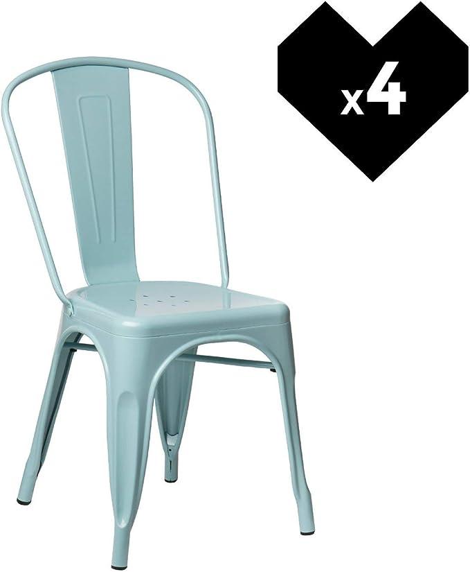Image ofSKLUM Pack 4 Sillas LIX Azul Isla Paraíso Estilo Industrial Acabado Brillante