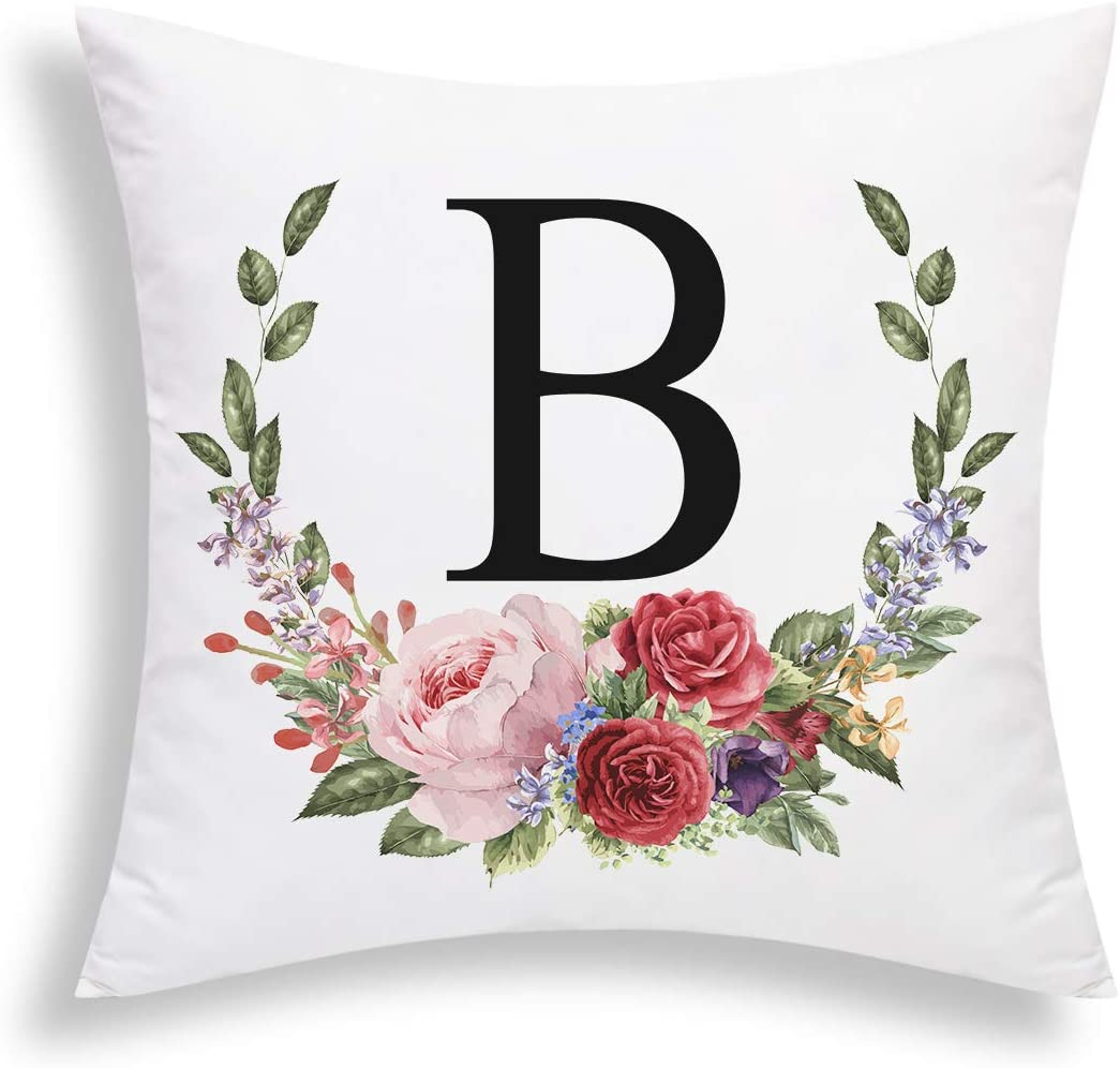 Yastouay Pillow Covers English Alphabet B Throw Pillow Cover Garland Throw Pillow Case Modern Cushion Cover for Bed