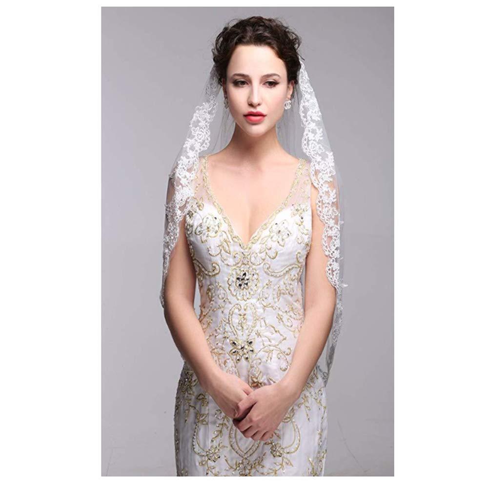 Uwedding Simple And Elegant Lace Applique White Ivory Bridal Veil