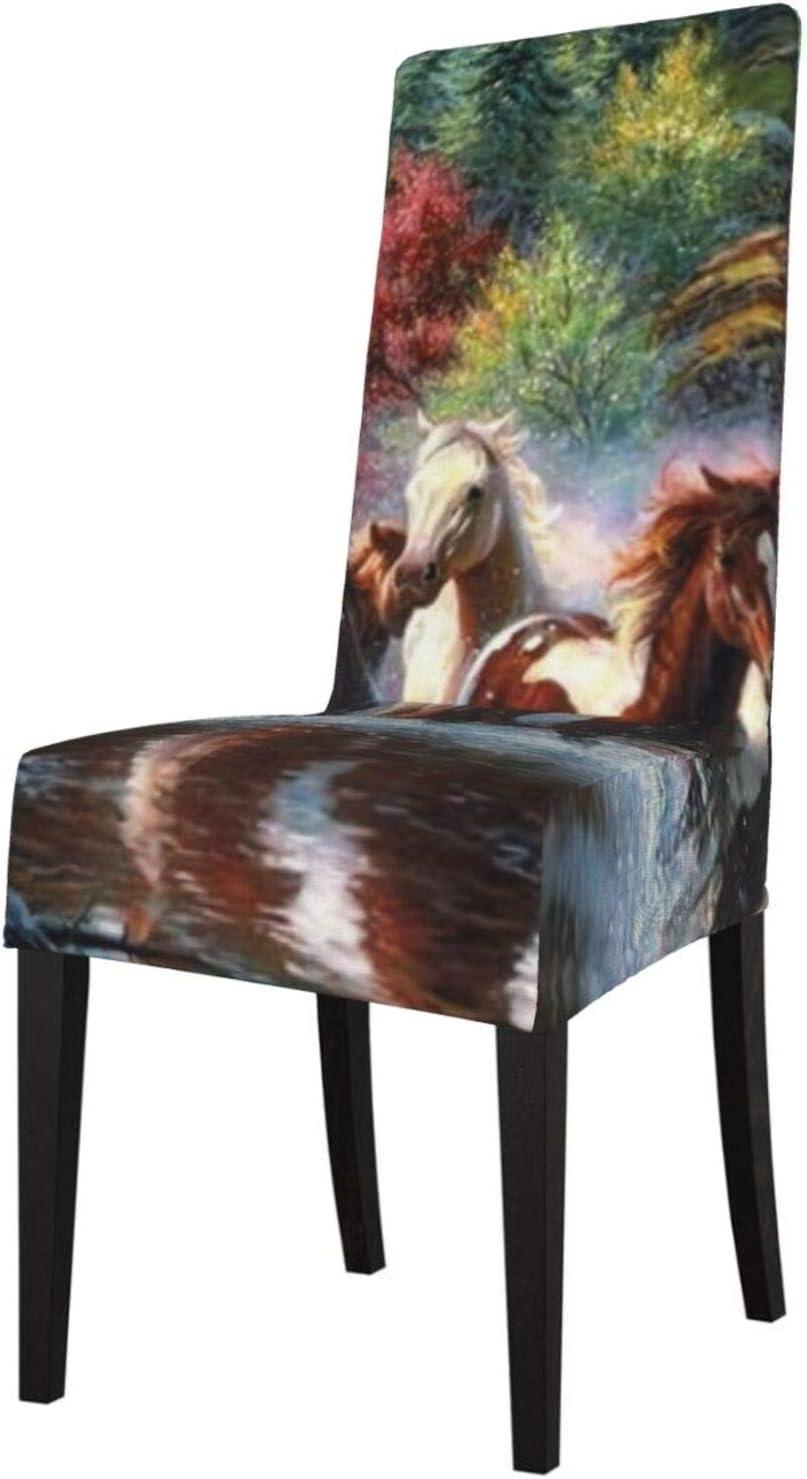 Fundas de silla de comedor de Indios Nativos Americanos Caballos Fundas elásticas extraíbles y lavables para sillas protectoras para cocina, restaurante, fiesta, ceremonia
