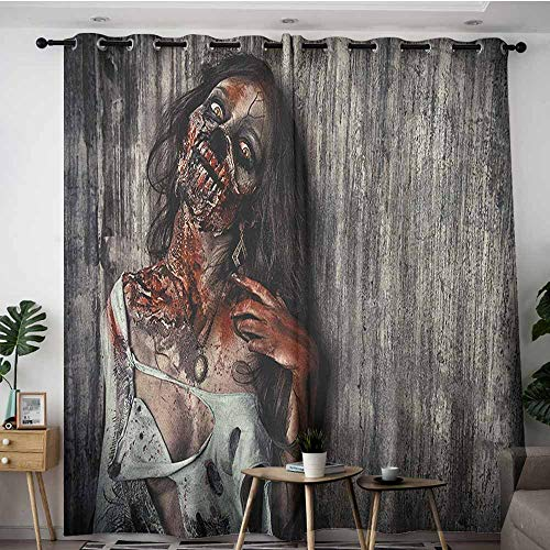 AGONIU Extra Wide Patio Door Curtain,Zombie Angry Dead Woman Sacrifice Fantasy Design Mystic Night Halloween Image,Great for Living Rooms & Bedrooms,W120x72L Dark Taupe Peach Red -