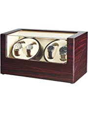 JQUEEN Automatic 4 Watch Winder, Quiet Mabuchi Motor, Dual Power Supply, Compatible for All Watches