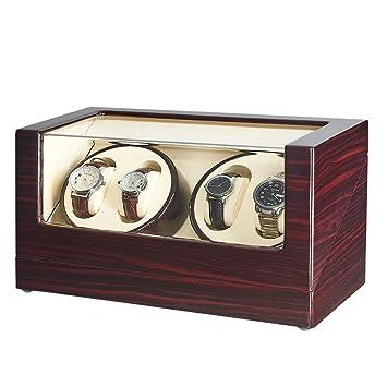 2b328698a jqueen - reloj automático de madera con carrete y caja de almacenamiento:  Amazon.es: Hogar