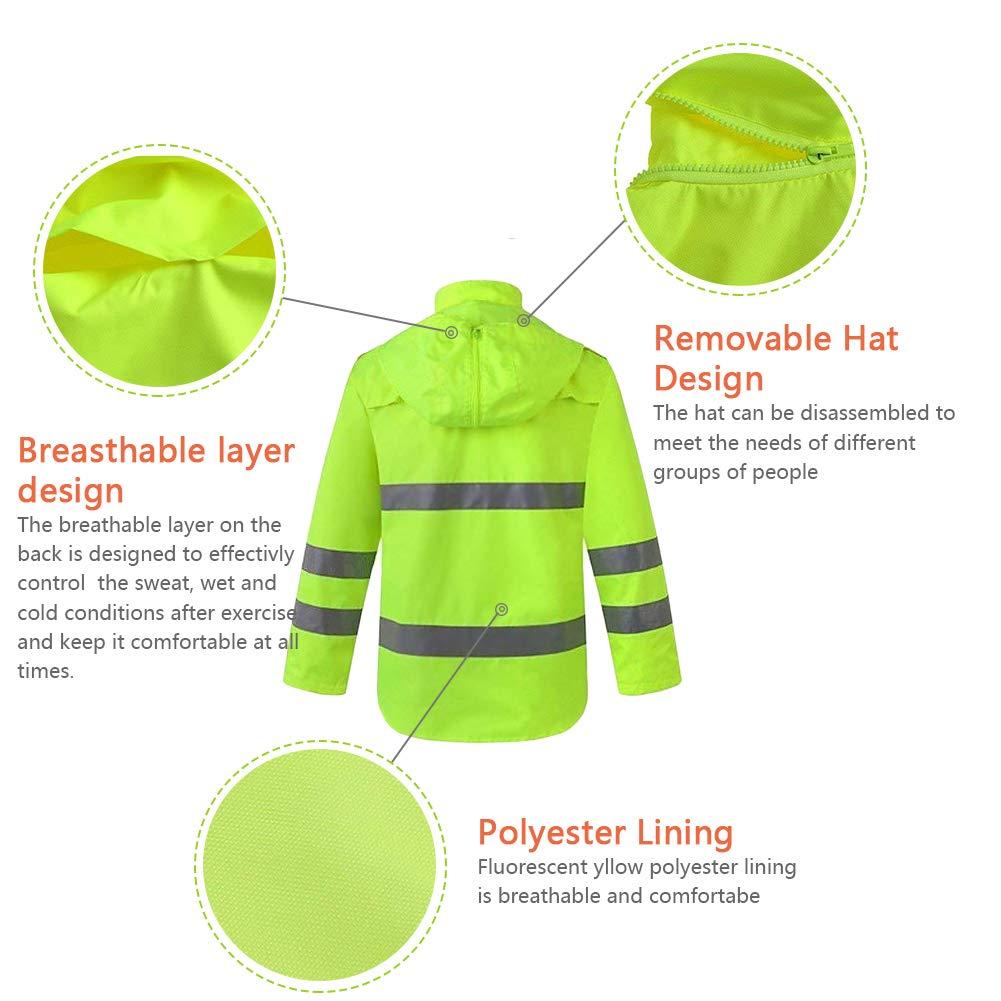 XIAKE SAFETY Class 3 Hi-Vis Reflective Rainwear Breathable Windproof Waterproof Antifouling, ANSI/ISEA Compliant,Yellow(XLarge) by XIAKE (Image #3)