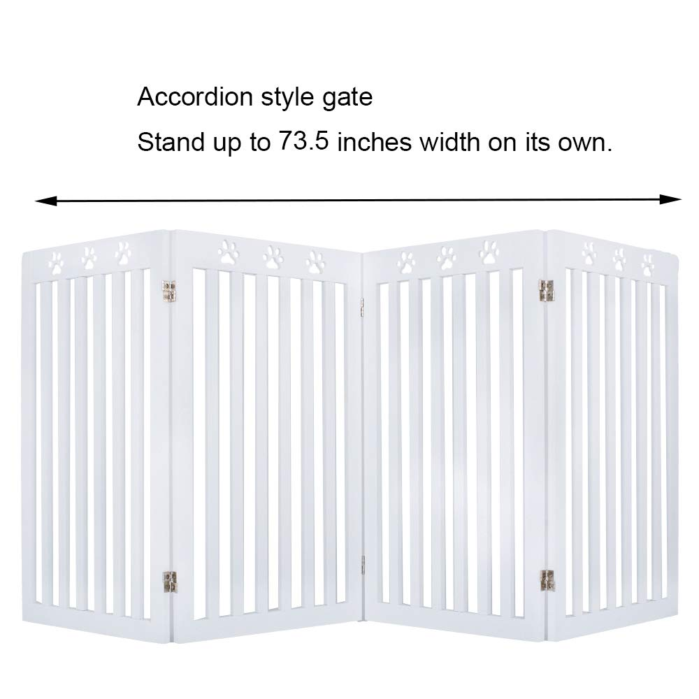 unipaws Freestanding Paw Deco Pet Gate, Foldable Assembly-Free Wooden Dog Gate, Step Over Fence Puppy Gate for Doorway, Stairs,White (20'' Wx36 H,4 Panels) by unipaws (Image #9)
