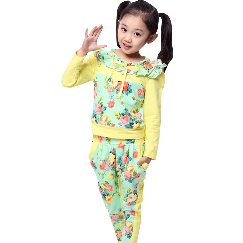 M&A Girls Spring Autumn Long Sleeve Floral Tops + Pants Clothing Set