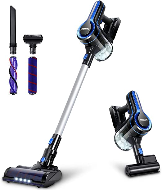 Cordless Vacuum, 20KPa Max Suction Stick Vacuum Cleaner, 4-in-1 Lightweight Handheld Vacuum and LED Headlights Brush, Powerful Dust  and Pet Hair Cleaning, Ideal for Carpet, Hard Floor, and Car best cordless vacuums
