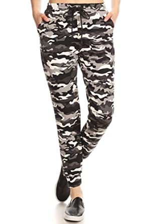 232bcac108ef8 Super Soft Womens Joggers Sweatpants with Pockets Shoe lace Tie Camo Print  Grey/Black Small