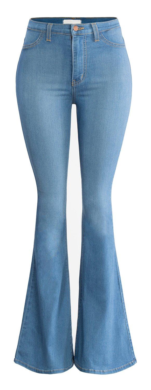 URBAN K Women's Classic High Waist FLARE & SKINNY Denim Jeans Bell Bottoms