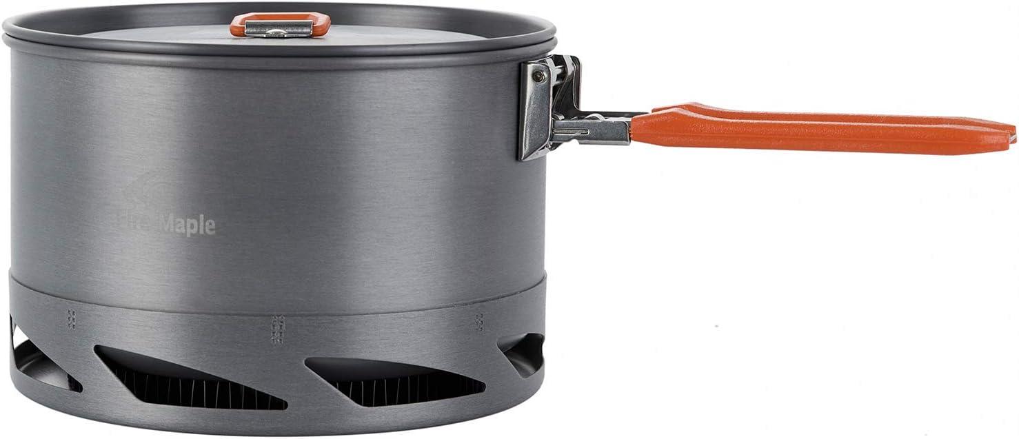 2.0L ALOCS Schnellkochtopf im Freien kampierendes Kochgeschirr W/ärmetauscher-Kessel Faltbarer Griff-Topf mit Sch/üssel mit Tragetasche 1.3L